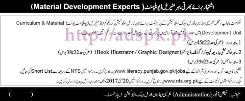 NTS New Jobs Literacy & Non Formal Basic Education Department Curriculum & Material (Development Unit) Government of the Punjab Written Syllabus MCQs Paper Screening Test for Material Development Experts Jobs Application Form Deadline 20-05-2017 Apply Now by NTS Pakistan
