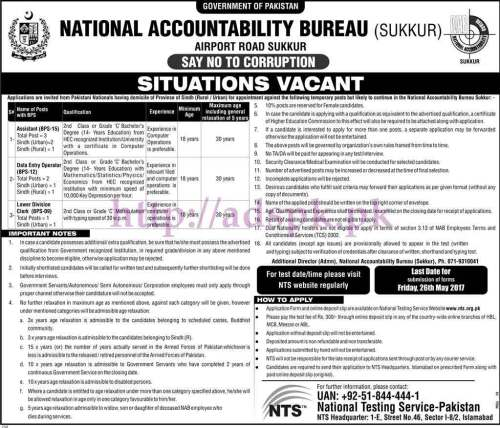 NTS New Jobs National Accountability Bureau NAB Sukkur Sindh Jobs 2017 Written Test MCQs Syllabus Paper for Assistant Data Entry Operator Lower Division Clerk Jobs Application Form Deadline 26-05-2017 Apply Now by NTS Pakistan
