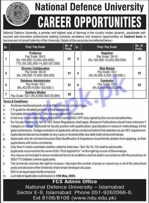 National Defence University Islamabad Jobs 2020 for Professor Registrar Director Collaboration Web Master Database Admin Conductor Jobs Application Form deadline 12-05-2020 Apply Now