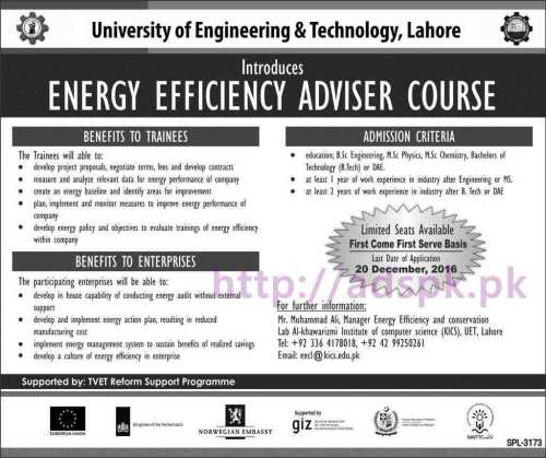 New Admissions 2016-17 UET Lahore for Energy Efficiency Adviser Course Application Form Deadline 20-12-2016 Apply Now