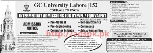 New Admissions 2016 GC University Lahore Intermediate Admission for O level availability of Prospectus Last Date 17-08-2016 Apply Now