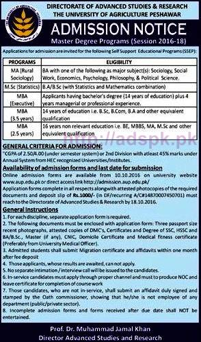 New Admissions Open 2016-2018 University of Agriculture Peshawar KPK Directorate of Advanced Studies & Research for Master Degree Programs Application Form Deadline 18-10-2016 Apply Now