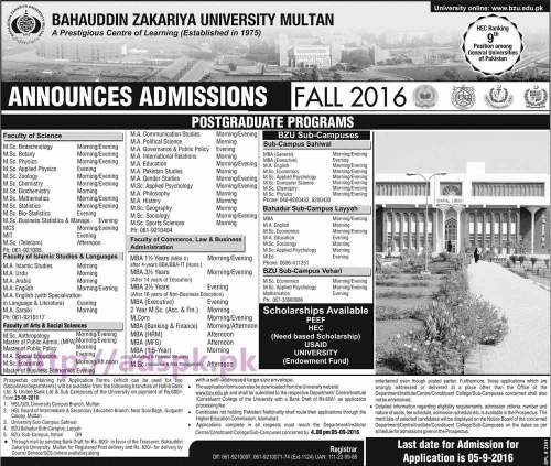 New Admissions Open Fall 2016 BZU Multan for Postgraduate Programs M.Sc MCS MIT M.A MBA M.Com Application Deadline 05-09-2016 Apply Now