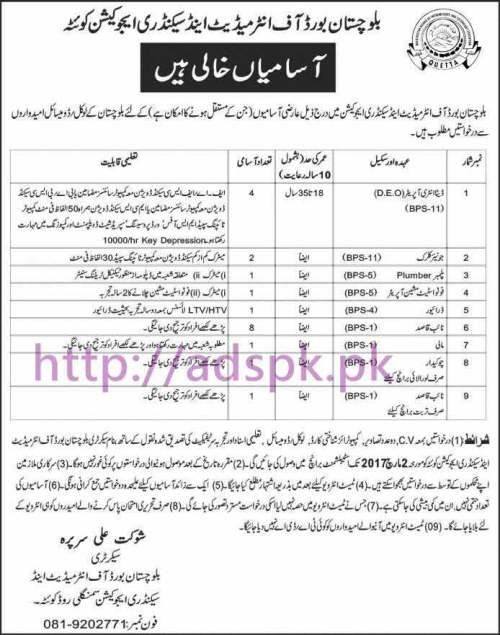 New Career Excellent Jobs BISE Quetta Balochistan Jobs for Data Entry Operator Junior Clerk and Other Staff Application Deadline 02-03-2017 Apply Now