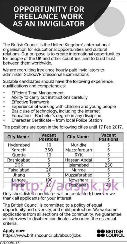New Career Excellent Jobs British Council Pakistan Jobs for Freelance Work as an Invigilators Application Deadline 17-02-2017 Apply Online Now