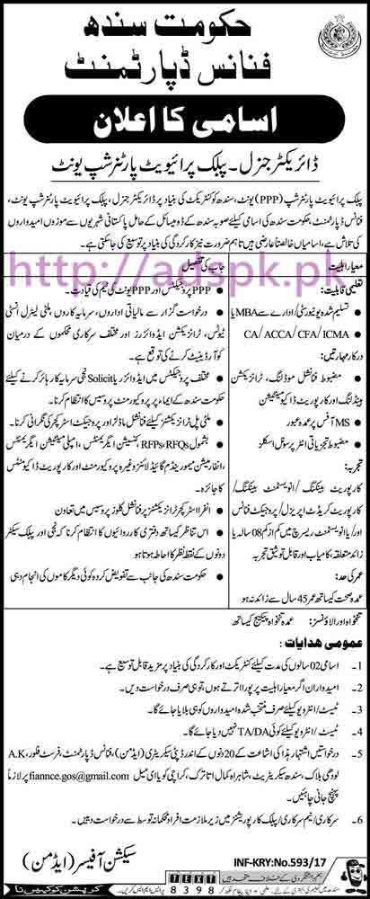 New Career Excellent Jobs Finance Department Govt. of Sindh Karachi Jobs for Director General PPP (Public Private Partnership Unit) Application Deadline 27-02-2017 Apply Now