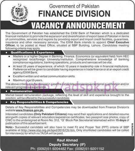 New Career Excellent Jobs Finance Division Govt. of Pakistan Islamabad Jobs for Chief Executive and Company Secretary Application Deadline 09-03-2017 Apply Now