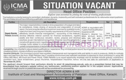 New Career Excellent Jobs ICMA Institute of Cost and Management Accountants of Pakistan Head Office Karachi Jobs for Deputy Director Finance Application Form Deadline 05-11-2016 Apply Online Now