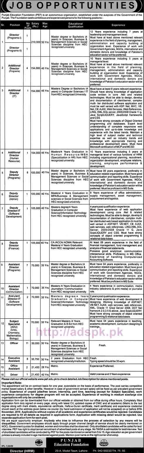 New Career Excellent Jobs PEF Punjab Education Foundation Lahore Jobs for Directors Additional Directors Deputy Directors Assistant Directors Subject Specialist Application Form Deadline 07-11-2016 Apply Now