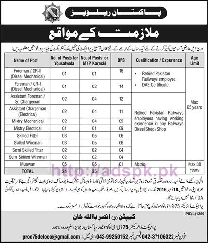 New Career Excellent Jobs Pakistan Railways Lahore Jobs for Foreman Assistant Foreman Assistant Chargeman Skilled Fitter and Other Staff Application Deadline 18-11-2016 Apply Now