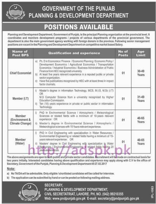 New Career Excellent Jobs Planning & Development Department Punjab Govt. Lahore Jobs for Chief Economist Members (I.T Environment & Climate Change Water) Application Deadline 27-02-2017 Apply Now