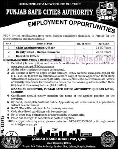 New Career Excellent Jobs Punjab Safe Cities Authority Qurban Line Lahore PSCA Jobs for Chief Administration Officer Deputy Chief HR Executive Officer Application Deadline 14-11-2016 for Online 11-11-2016 Apply Now