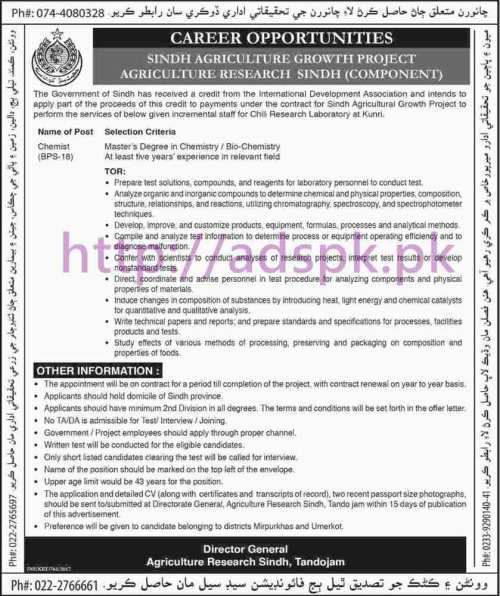 New Career Excellent Jobs Sindh Agriculture Growth Project Agriculture Research Sindh (Component) Tandojam Jobs for Chemist (Incremental Staff) Application Deadline 05-03-2017 Apply Now