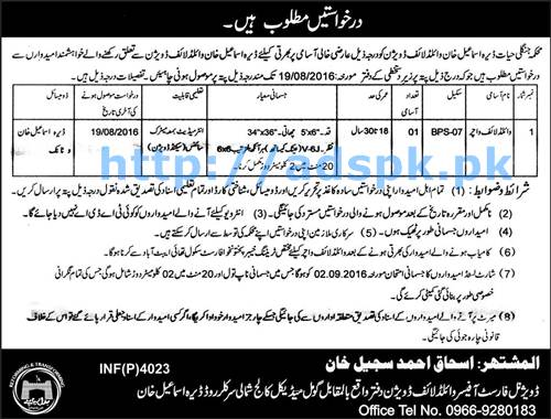 New Career Excellent Jobs Wildlife Department Dera Ismail Khan Wildlife Division KPK Jobs for Wildlife Watcher (BPS-07) Application Deadline 19-08-2016 Apply Now