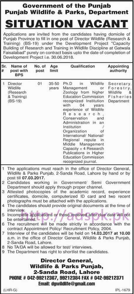 New Career Excellent Jobs Wildlife & Parks Punjab Govt. Jobs for Director Wildlife (Research & Training) Application Deadline 07-03-2017 Apply Now