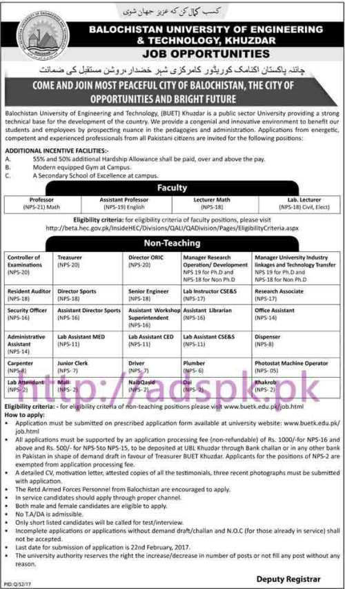 New Career Jobs Balochistan University of Engineering & Technology Khuzdar Jobs for Professors Controller of Examinations Treasurer Director ORIC Director Sports Application Deadline 22-02-2017 Apply Now