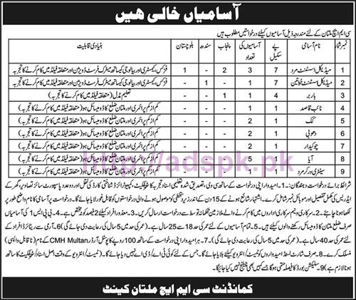 New Career Jobs CMH Multan Jobs BPS-1 to BPS-07 Medical Assistant (Male-Female) and Other Staff Application Deadline 31-10-2016 Apply Now