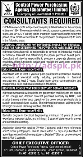 New Career Jobs Central Power Purchasing Agency (Guarantee) Ltd Islamabad Jobs for Individual Consultants Application Deadline 03-09-2016 Apply Now