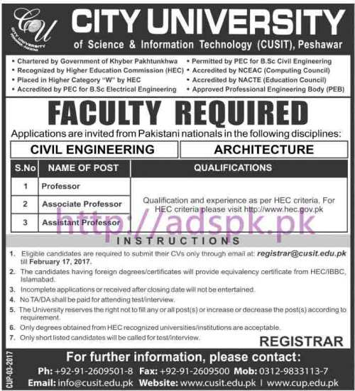 New Career Jobs City University of Science & Information Technology (CUSIT) Peshawar Jobs for Professors (Civil Engineering & Architecture) Application Deadline 17-02-2017 Apply Now