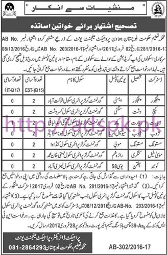 New Career Jobs Education Department PMU Balochistan Jobs for Teachers EST and I.T District Wise Jobs Application Deadline 28-02-2017 Apply Now