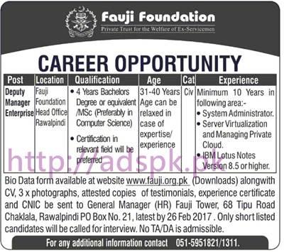 New Career Jobs Fauji Foundation Head Office P.O Box 21 Rawalpindi Jobs Deputy Manager Enterprise Application Form Deadline 26-02-2017 Apply Now