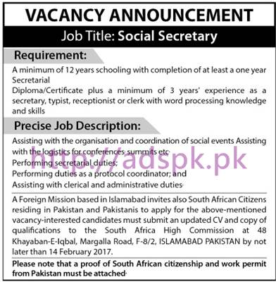 New Career Jobs Foreign Mission Based Islamabad Jobs for Social Secretary Application Deadline 14-02-2017 Apply Now