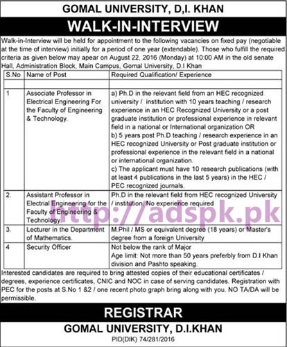 New Career Jobs Gomal University Dera Ismail Khan KPK Jos for Professors Lecturer and Security Officer Application Deadline 22-08-2016 Apply Now