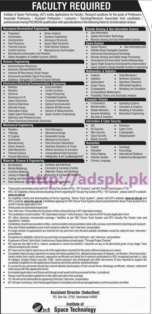 New Career Jobs IST Institute of Space Technology P.O Box 2750 Islamabad Jobs for Professors Lecturers Teaching Research Associates (TTS) Apply Now