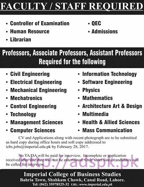 New Career Jobs Imperial College of Business Studies Lahore Jobs for Professors Controller of Examination and Other Staff Application Deadline 28-02-2017 Apply Now