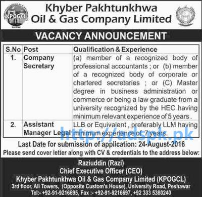 New Career Jobs Khyber Pakhtunkhwa Oil & Gas Company Limited Jobs for Company Secretary and Assistant Manager Legal Application Deadline 24-08-2016 Apply Now