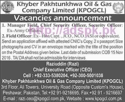 New Career Jobs Khyber Pakhtunkhwa Oil & Gas Company Ltd Peshawar Jobs for Manager Field Chief Security Officer Security Officer Field Officer Application Deadline 15-11-2016 Apply Now