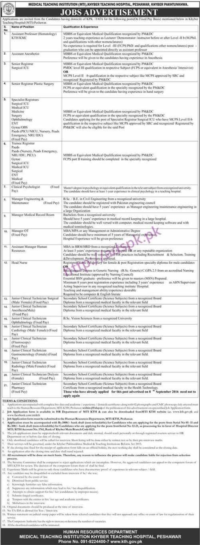 New Career Jobs Medical Teaching Institution Khyber Medical College Peshawar KPK Jobs for Assistant Professor Senior Registrars Managers Junior Clinical Technicians Application Deadline 03-03-2017 Apply Now
