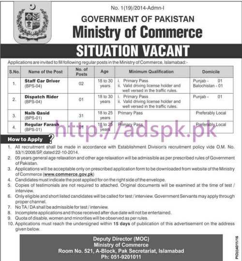 New Career Jobs Ministry of Commerce Pakistan Govt. Jobs for Staff Car Driver Dispatch Rider Naib Qasid Regular Farash Application Form Deadline 21-02-2017 Apply Now
