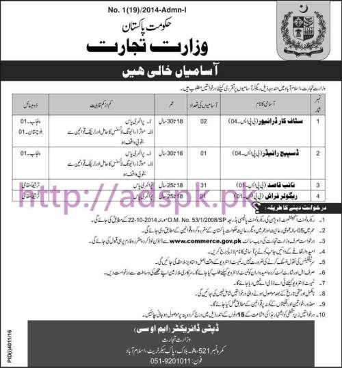 New Career Jobs Ministry of Trade Islamabad Govt. of Pakistan Regular Jobs for Staff Car Driver Dispatch Rider Naib Qasid Application Deadline 20-02-2017 Apply Now