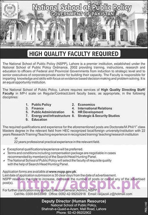 New Career Jobs National School of Public Policy Lahore Govt. of Pakistan Jobs for High Quality Faculty Jobs Last Date of Application Submission is 30 Clear Day from the date of Advertisement Apply Now