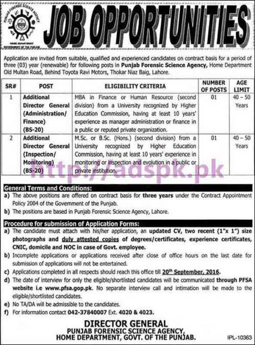 New Career Jobs PFSA Punjab Forensic Science Agency Home Department Punjab Govt. Lahore Jobs for Additional Director Generals (Administration Finance Inspection Monitoring) Application Form Deadline 20-09-2016 Apply Now
