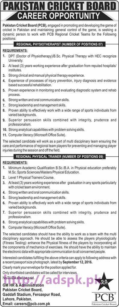 New Career Jobs Pakistan Cricket Board PCB Lahore Jobs for Regional Physiotherapist and Regional Physical Trainer Application Deadline 12-09-2016 Apply Now