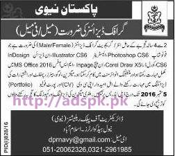 New Career Jobs Pakistan Navy Directorate of Public Relations (Navy) Naval Headquarters Islamabad Jobs for Graphic Designer (Male-Female) Application Deadline 05-09-2016 Apply Now