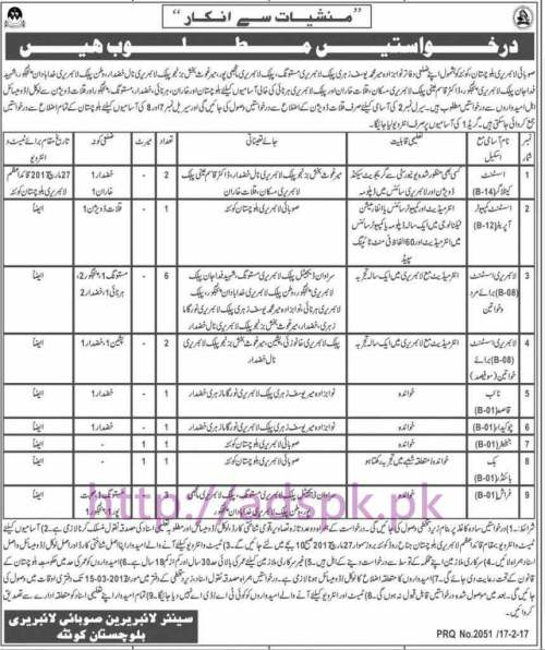 New Career Jobs Provincial Library Quetta Balochistan Jobs for Assistant Cataloger Assistant Computer Operator Library Assistant Application Deadline 15-03-2017 Apply Now