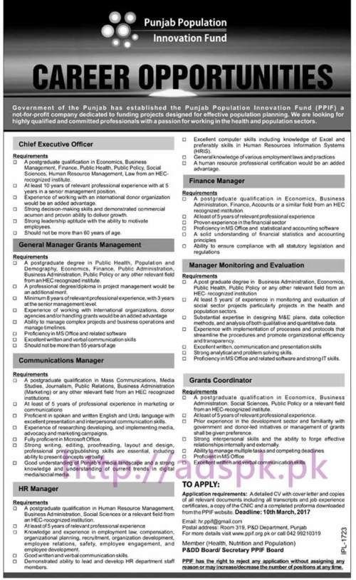 New Career Jobs Punjab Population Innovation Fund P&D Department Lahore Jobs for Chief Executive Officer General Manager Grants Management Managers (Finance Communication M&E) Grants Coordinator Application Deadline 10-03-2017 Apply Now