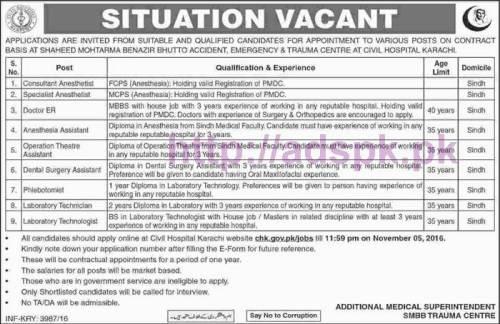 New Career Jobs SMBB Trauma Centre Civil Hospital Karachi Jobs for Consultant Specialist Doctors Dental Surgery Assistant OTA Lab Tech Application Deadline 05-11-2016 Apply Online Now