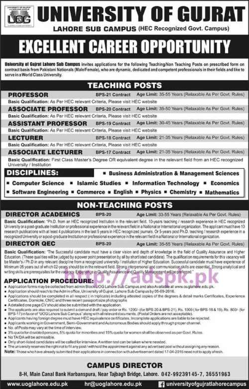 New Career Jobs University of Gujrat Lahore Sub Campus Jobs for Professors Lecturers (Teaching Posts) Director Academics Director QEC (Non Teaching Posts) Application Deadline 05-09-2016 Apply Now
