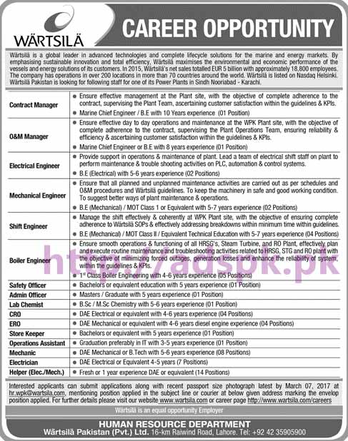 New Career Jobs Wartsila Pakistan Pvt. Ltd Lahore Jobs for Managers (Contract O&M) Engineers (Electrical Mechanical Shift Boiler) Safety Officer Application Deadline 07-03-2017 Apply Now