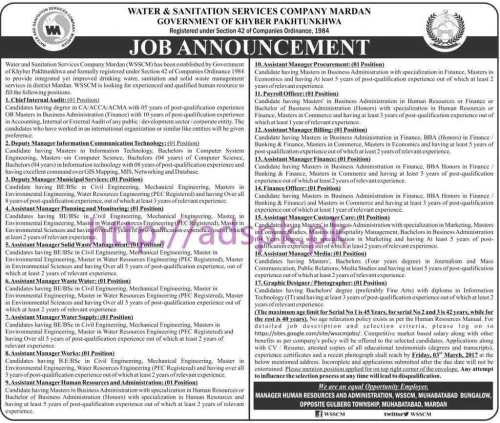 New Career Jobs Water & Sanitation Services Company Mardan KPK Govt. Jobs for Chief Internal Audit Deputy Managers Assistant Managers Payroll Officer Application Deadline 03-03-2017 Apply Now