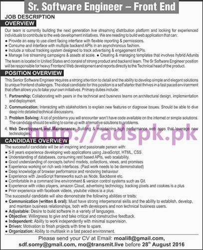 New Career Jobs for Senior Software Engineer Front End Application Deadline 28-08-2016 Apply Online Now