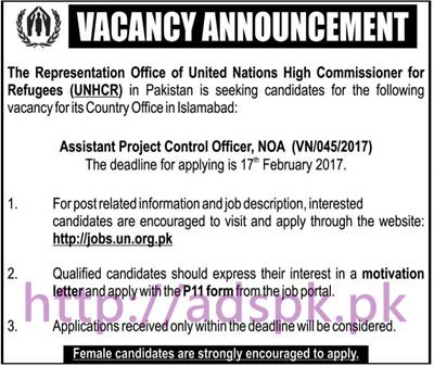 New Career UNHCR Pakistan Islamabad Jobs for Assistant Project Control Officer NOA Application Deadline 17-02-2017 Apply Online Now