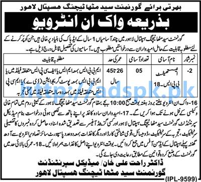 New Career Walk in Interview Jobs Govt. Syed Mitha Teaching Hospital Lahore Jobs for Anesthetist Interviews Every Saturday Apply Now