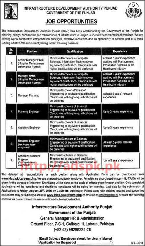 New Excellent Career Jobs Infrastructure Development Authority Punjab Govt. Lahore Jobs for Senior Manager HMIS Manager Planning Engineers Application Deadline 26-08-2016 Apply Now