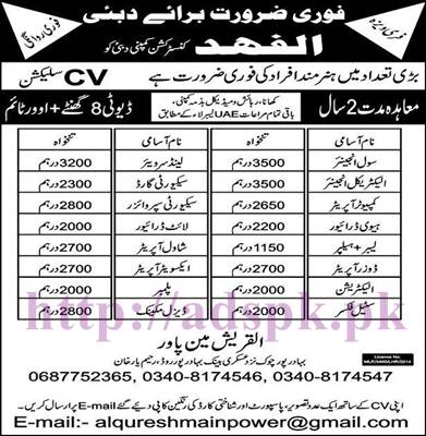 New Excellent Jobs Khalifa Al Fahad Construction Company Dubai UAE Jobs Free VISA for Engineers (Civil Electrical) Computer Operator Heavy Driver Security Guard Apply Now