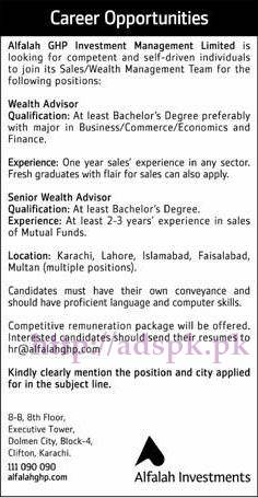 New Jobs Alfalah GHP Investment Management Limited Jobs 2017 for Wealth Advisor (Lahore Karachi Islamabad Faisalabad Multan) Jobs Apply Now